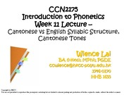 CCN2175 Wk 11L Cantonese vs English Syllabic Structure, Cantonese tones (WL)_Ss