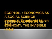 Lecture 6 [Classical Political Economy 'The invisible hand']