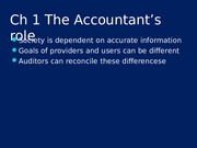 Ch. 1 The Role of the Accountant