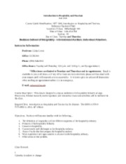 Intro. to Hospitality and Tourism Syllabus and Calendar, Fall 2011, syllabus-1