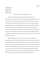 English Comp Essay on Being a Women in America