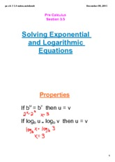 Solving Logarithmic Equations Notes