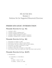 SE 212 Fall 2014 Problem Set 3 Solutions