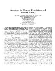 Signatures for Content Distribution with network coding
