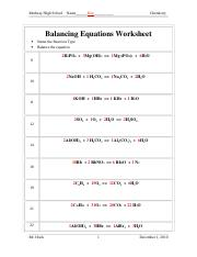 341-Balancing-Equations-Worksheet-Answer-key - Medway High School ...