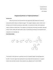 grignard synthesis of triphenylmethanol lab report Chem 2700, organic chemistry i, dept of chemistry, university of guelph expt #8 preparation of phenyl magnesium bromide and subsequent reaction with benzophenone please read your lab manual, text and course notes category education license standard youtube license show more.