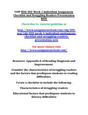 UOP RDG 502 Week 1 Individual Assignment Checklist and Struggling Readers Presentation NEW.doc