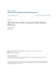The Protection of the Consumer Under Modern Sales Law