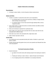Chapter 4 Notes (Intro to Sociology)