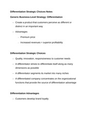 Differentiation Strategic Choices Notes