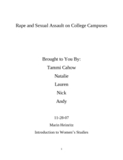 Rape and Sexual Assault on College Campuses