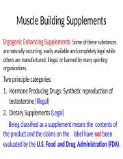 PE 237 Weight Training Muscle Building Supplements 2-7-16