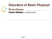 Disorders of Basic Physical Functions