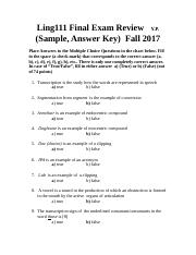 Ling111 Final Exam Review (Sample) Answer Key Fall 2017.doc