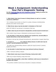 Week 1 Assignment Understanding Your Pet's Diagnostic Testing.docx