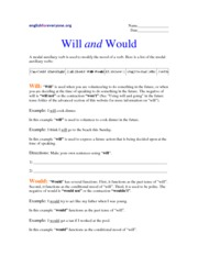 Modal Auxiliary verbs - Will and Would