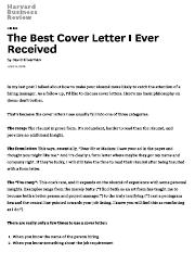 the best cover letter i ever received haryard business review hiring the best cover letter i ever received by david silverman in my last post i talked
