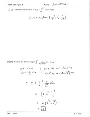 Math 122 Quiz 3 Version 1 Solutions