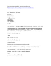 1 Pages Press Release Template From Press  Letter Of Release Template