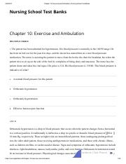 Chapter 10_ Exercise and Ambulation _ Nursing School Test Banks