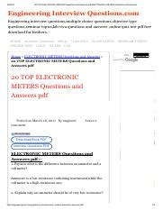 20 TOP ELECTRONIC METERS Questions and Answers pdf ELECTRONIC METERS Questions and Answers.pdf
