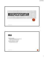 Lecture 7 - Misspecification
