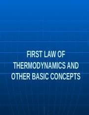 First Law of Thermodynamics and Basic Concepts