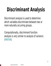 Lecture 08 - Multivariate Analysis - Discriminant analysis