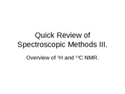 Review of Spectroscopic Methods III