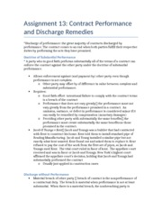 Chapter 13- Contract Performance and Discharge Remedies
