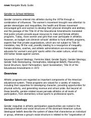 Gender in School Athletics Research Paper Starter - eNotes