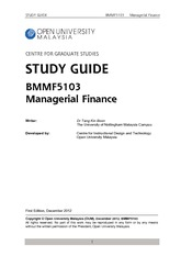 study guide Managerial Finance