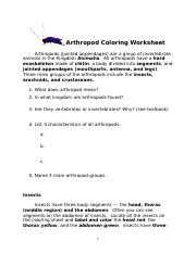 Arthropod Coloring - Arthropod Coloring Worksheet Arthropods ...
