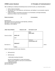 Notes Lecture 2 Handout - Principles of Communication I