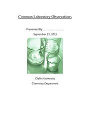Lab Report: Common Laboratory Observations Lab