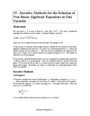 15 Solutions of Nonlinear Equations