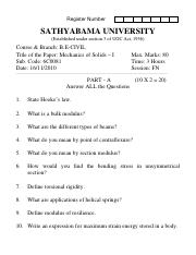 (www.entrance-exam.net)-Sathyabama University B.E in Civil Engineering-IIIrd Sem Mechanics of Solids