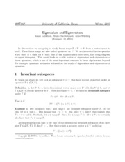 Eigenvalues and Eigenvectors lecture notes