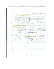 Invertabrate Zoology –Class Notes- Phylums Nematoda, Gastrotricha, and Kinorhyncha,