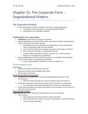 Chapter 15 - The Corporate Form (Organizational Matters)