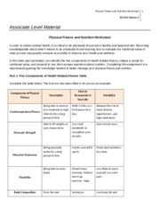 Physical Fitness Nutrition Worksheet
