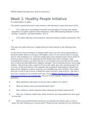 NR305 Health Assessment class week one discussion.docx