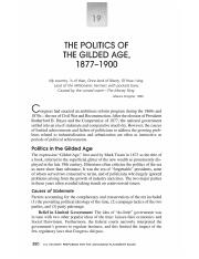 Amsco chapter 19 - THE POLITICS OF THE GILDED AGE 1877-1900 My