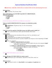 IP Nutrition Final Review Sheet Justin's Part
