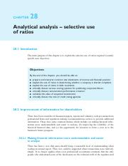 29. Chapter 28 - Analytical analysis-selective use of ratios