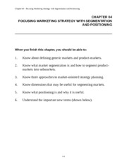 Chapter 4 Marketing Notes