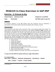 SAP Exercise 3 - Procure to Pay.docx