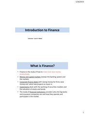 Introduction to Finance Notes