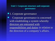 Unit 5  Corporate structure and corporate governance
