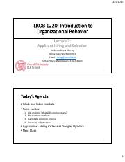ILROB 1220 - Lecture 3 - Applicant Screening and Selection.pdf